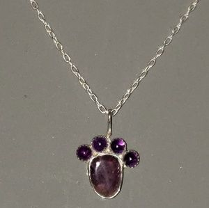 Handmade Sterling and Ameythist Paw Necklace
